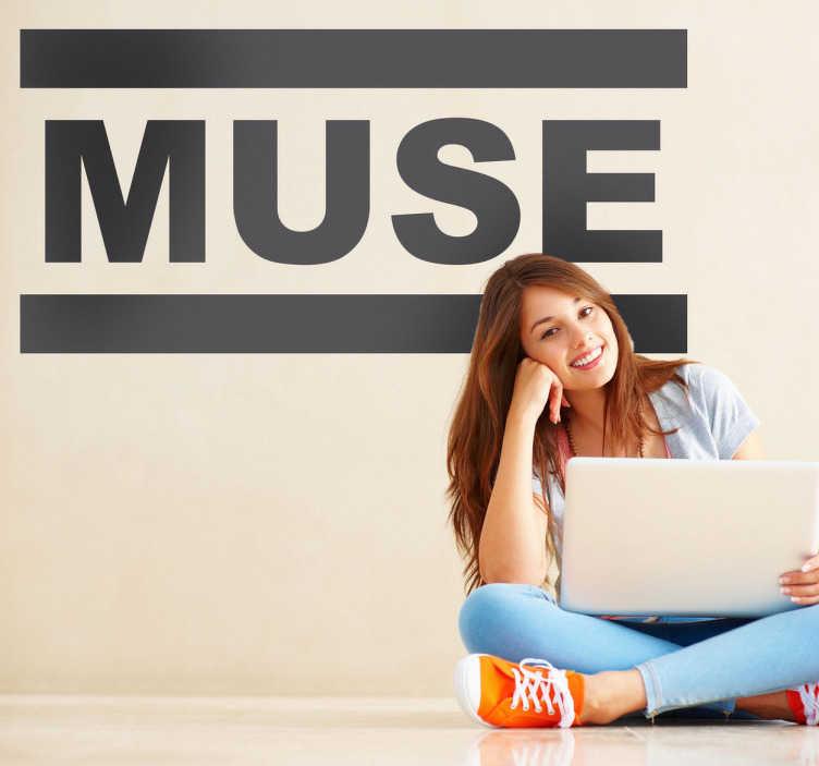 TenStickers. Autocollant mural logo Muse. Stickers mural illustrant le logo du groupe Muse. Sélectionnez les dimensions et la couleur de votre choix.