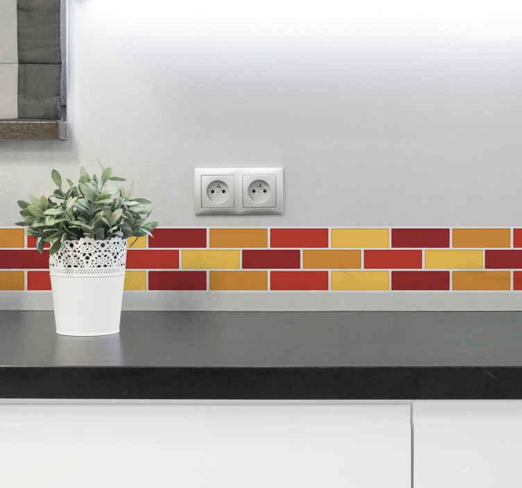 TENSTICKERS. 暖色系ボーダーステッカー. バスルームとキッチン用の温かみのある色調のボーダーウォールステッカー。このデザインはブロックタイル形式で、壁に適切に定義された表面を作成します。