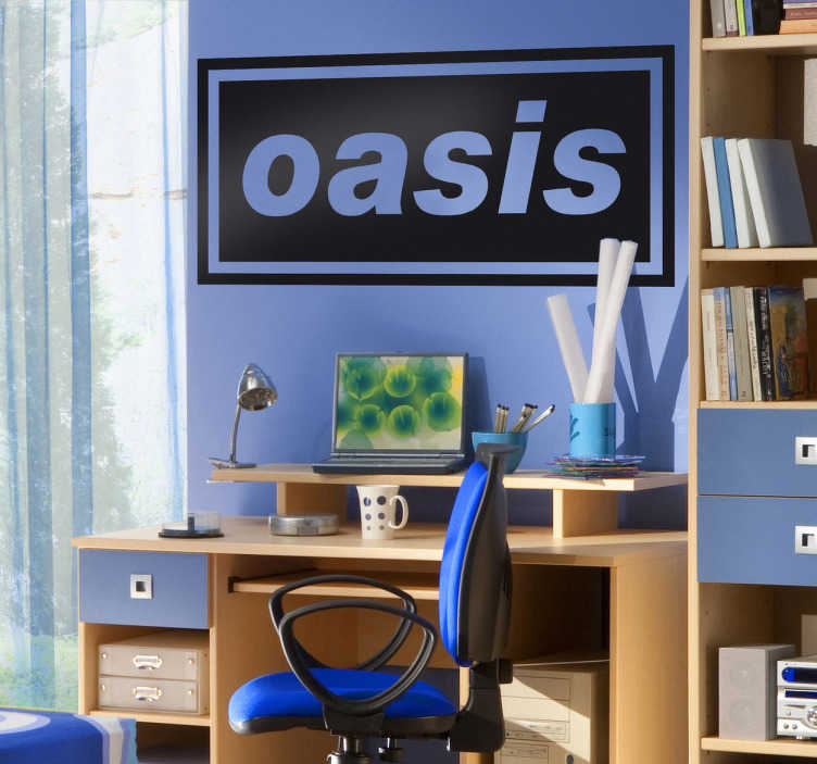 TenVinilo. Vinilo decorativo logo Oasis. Adhesivo de la banda británica Oasis, formada entre ellos por los famosos hermanos Gallagher, compositores y líderes del grupo de música.