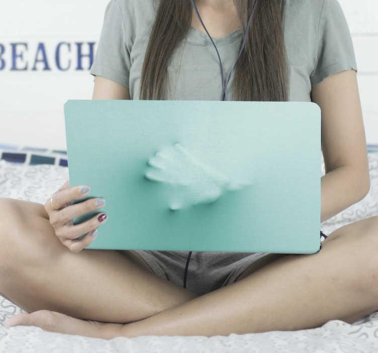 TenStickers. 3d ручной ноутбук кожа. Стикер кожи компьтер-книжки визуального эффекта руки 3d, дизайн созданный с первоначально эффектом руки 3d в голубом цвете. этот дизайн очень прост в применении.