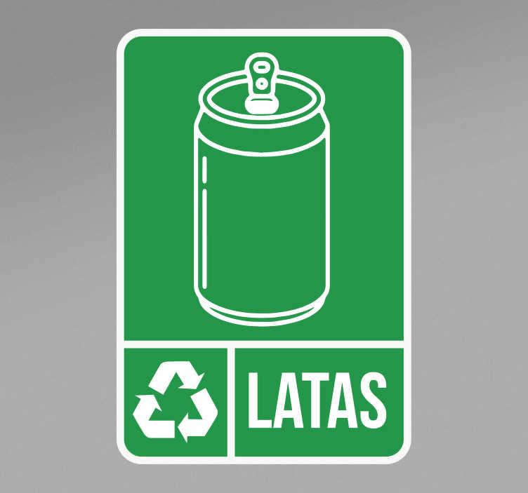 TenVinilo. Pegatina reciclaje para latas. Ponga esta pegatina de reciclaje de latas con el icono de una lata y la frase. Este producto es fácil de aplicar. Cómprala ahora online.
