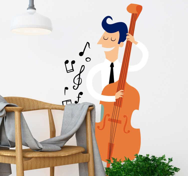 TenStickers. Musiker mit Kontrabass Aufkleber. Ein Junge, der auf einem Kontrabass spielt. Mit diesem musikalischen Wandtattoo Design können Sie die Wand im Kinderzimmer dekorieren.