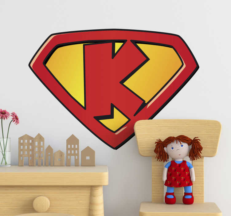 TenStickers. Super k superhero sticker. Super k super hero kids wall sticker for the bedroom or play area. This is a design of the letter k that stands for a strong character for kids.