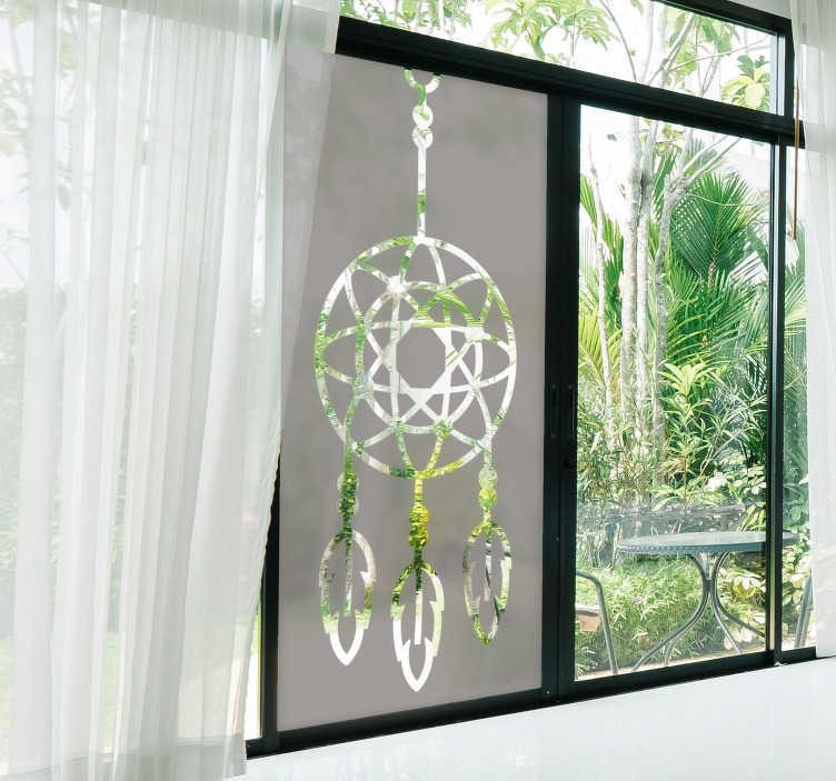 TENSTICKERS. ドリームキャッチャーウィンドウデカール. あなたの窓を美しくする夢のキャッチャーの窓のステッカー。このデザインは緑色で作成され、サイズを選択することができ、簡単に適用できます。