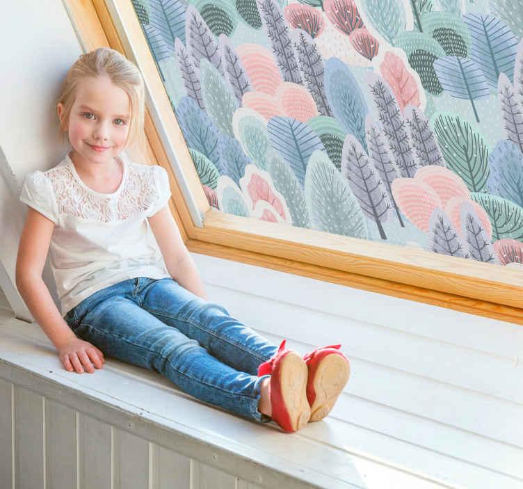 TenStickers. 树窗贴花. 七彩花朵树的窗户贴花,您可以用来在家里装饰窗户。这种设计非常易于应用,您可以选择尺寸。