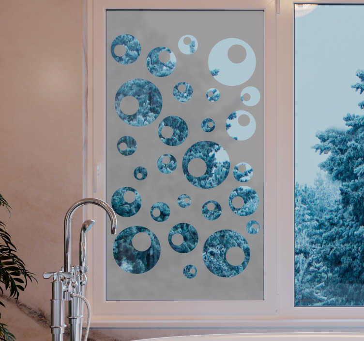TenStickers. Water pearls window decal. Adhesive circular geometric shape window decal that is transparent. this design will add beauty to the surface of your window in a lovely way.