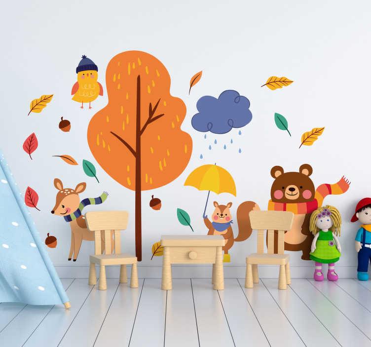 TenStickers. Herfst milieu wild dier zelfklevende sticker. Kinder dieren muur kunst zelfklevende sticker van de herfst, dit ontwerp bevat dieren op boom in mooie heldere kleuren waar kinderen dol op zijn. Eenvoudig aan te brengen ontwerp.