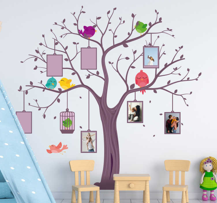 TenStickers. Customizable child tree vinyl tree wall decal. Decorate your home with this tree wall art decal that you can apply photos on. Easy to apply on the surface and you will love it.