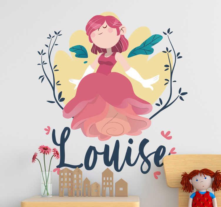 TENSTICKERS. 花と妖精のファンタジー装飾. あなたの子供の寝室用にカスタマイズ可能なフラワードレスウォールステッカー付きのピンクの妖精のプリンセス。このデザインには、木の上の空飛ぶ妖精が含まれています。