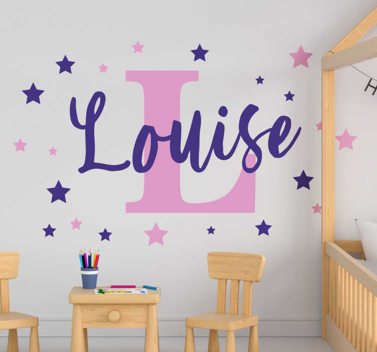 TenStickers. Customizable star Vinyl Custom Sticker. A decorative sticker of colourful stars for kid that can be personalised with any name of your choice. This design is very easy to apply and maintain.