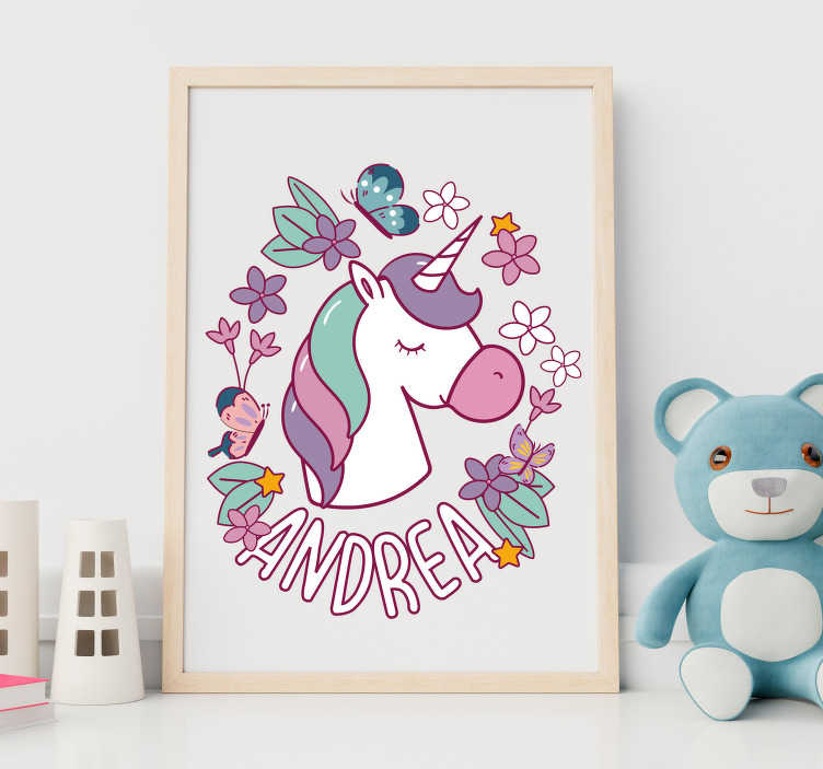 TenStickers. Unicorn and butterfly Personalised Sticker. Goblin fantasy wall sticker design for kid's room. This design contains all the fantasy to amaze the kids and you can have it with your child's name.