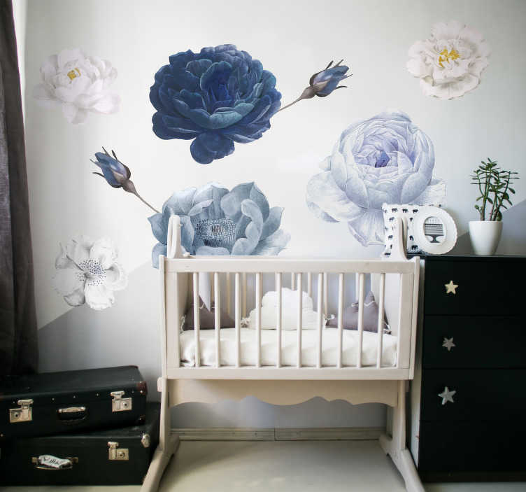 TenStickers. Flower sticker for baby room flower wall sticker. A blue and white coloured baby flower for kids bedroom.This design contains beautiful floral in blue, white and grey colours that will suite bedroom.