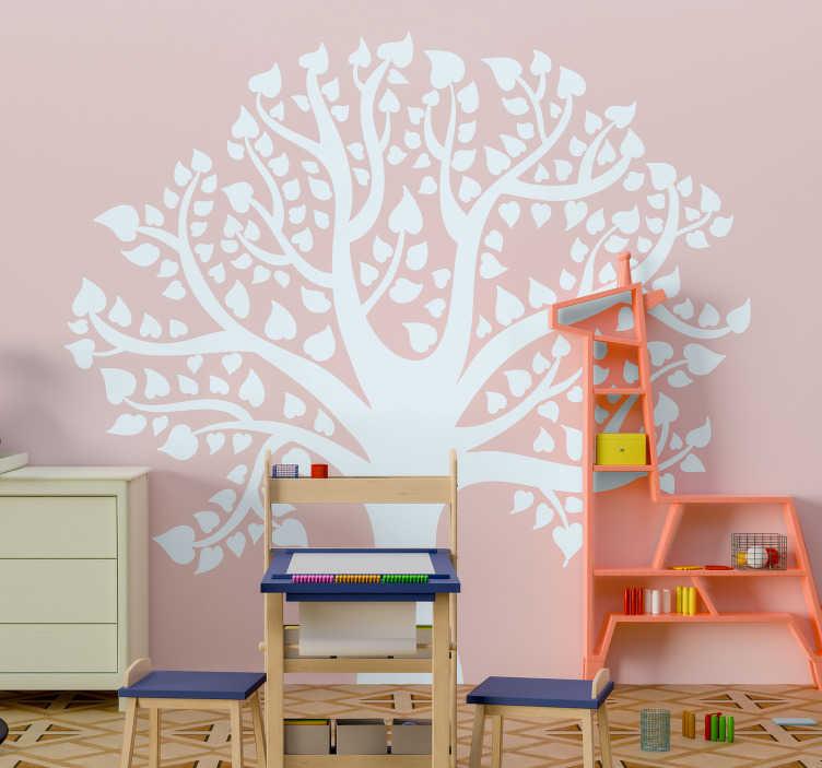 TenVinilo. Vinilo pared de árbol hojas de corazones. Vinilo infantil de árbol precioso con corazones como hojas para llevar amor y hermosura a la habitación de tu hija ¡Envío a domicilio!