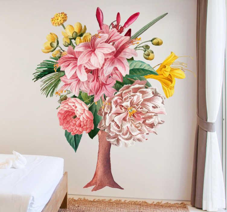 TenStickers. Autocolantes flores árvore de flores. Um belo vinis decorativos de árvore de cores que será agradável para decorar sua sala ou quarto. Esse design é muito fácil de aplicar.