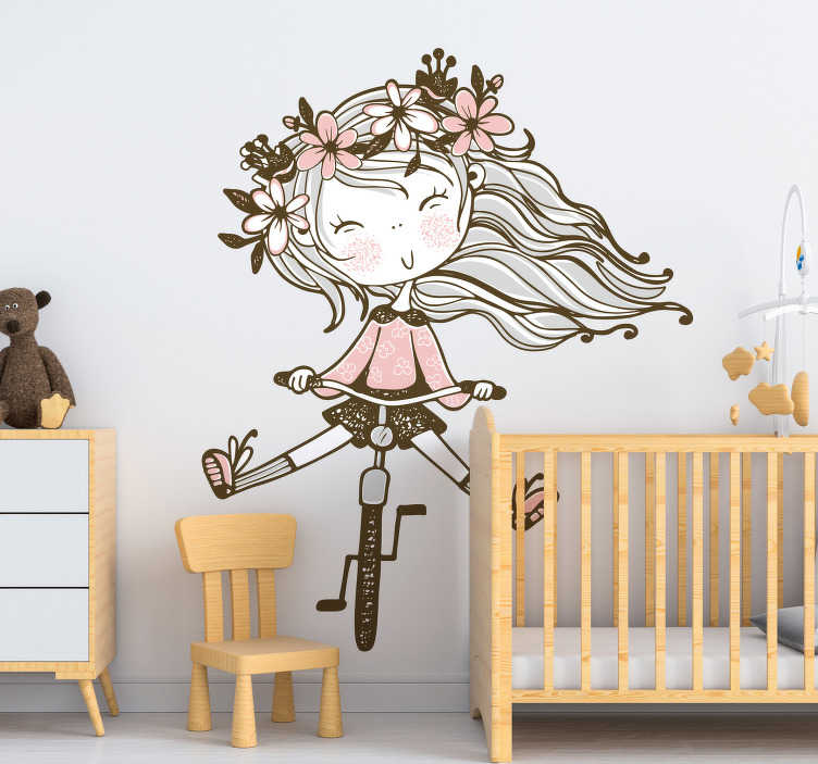 TenStickers. Flower-headed girl  illustration wall art. Kid's room sticker with a girl on her bicycle and flower on her head. This design is created in beautiful colour you will love. Easy to apply design.