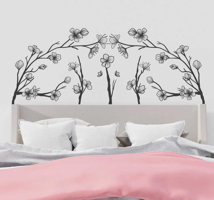 TenStickers. Headboard with flowers headboard wall sticker. Special ornamental flower tree headboard wall art sticker for the bedroom to create better sleep in your home This design will be lovely .