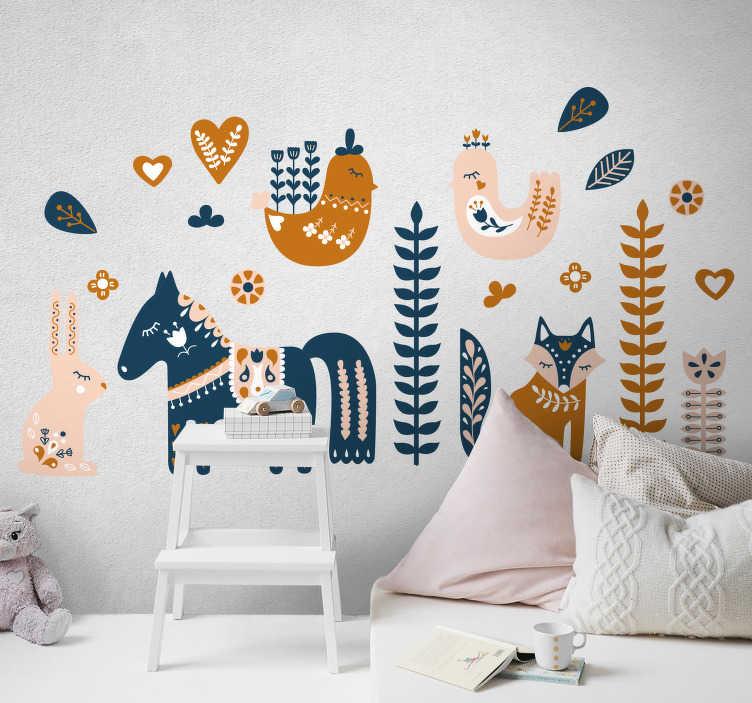 TenStickers. Nalepka za steno spalnice nordijske živali za otroke. Nordijska živalska zasnova za stenske nalepke za otroške spalnice, s katero okrasite svoj dom, da ustvarite srečno in vznemirljivo okolje za vašega otroka.