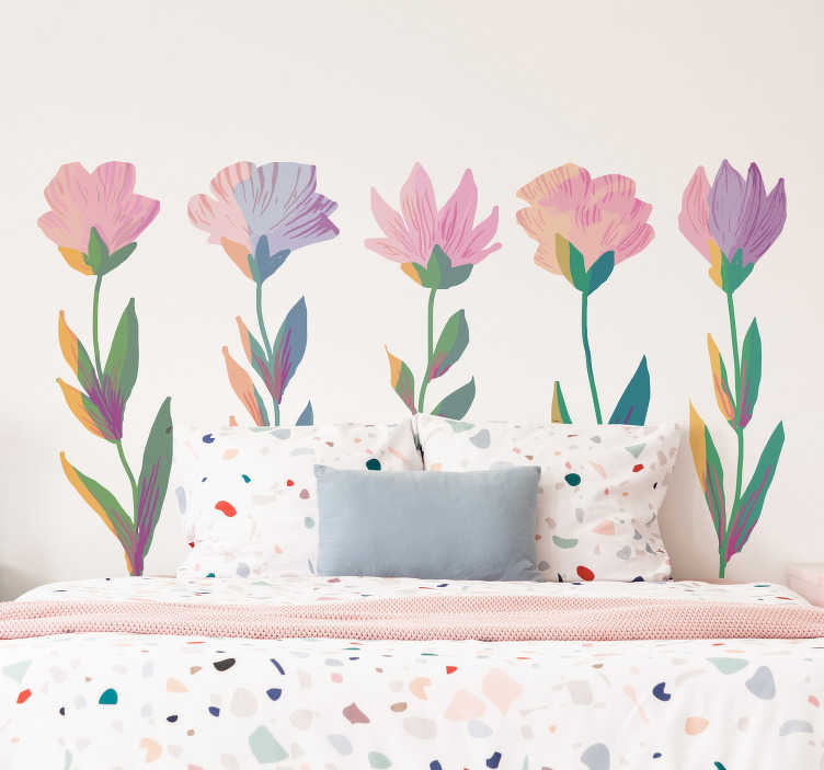 TenStickers. Nordic style flower wall decor. A colourful Nordic flower style design that you will love to decorate your bedroom or living room. This design is very easy to apply.