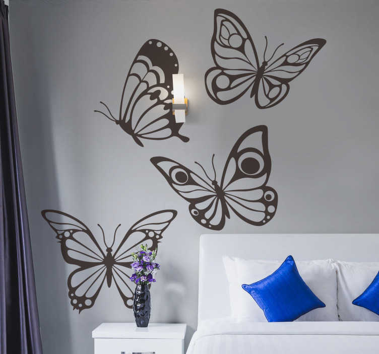 TenStickers. Pretty butterflies animal sticker. A home wall sticker of pretty beautiful butterflies that you can use to decorate your living room or bedroom. This design can be cut and applied.