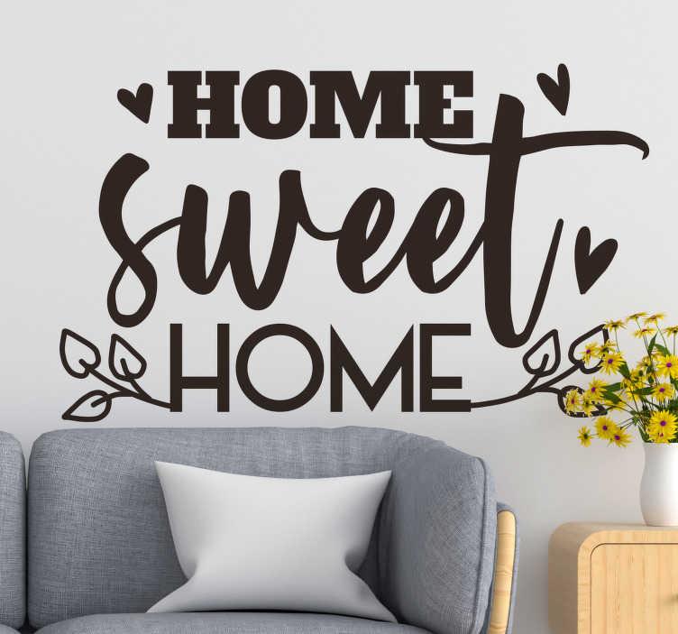 """TenStickers. 甜蜜的家庭文本墙装饰. """"甜蜜的家""""设计的家庭文字墙贴花,可以很好地美化您的客厅或卧室。这种设计易于在表面上应用。"""