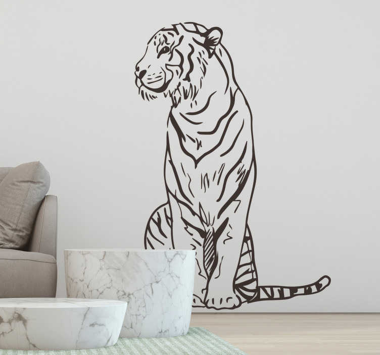 TenStickers. Striped tiger  wild animal sticker. A wild striped tiger wall sticker design to decorate your living room or bedroom. This design is very easy to apply and you can choose the size.