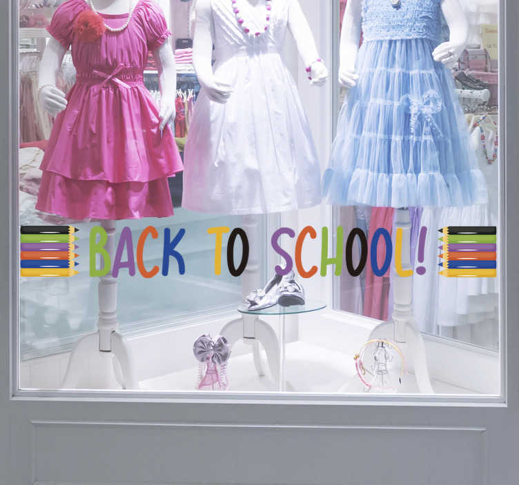 TenStickers. Back to school pencils Shop Window Vinyl. A colourful and beautiful business front window decal  with pencils designed on it.This design is what you need to apply in your shop to promote  sales.