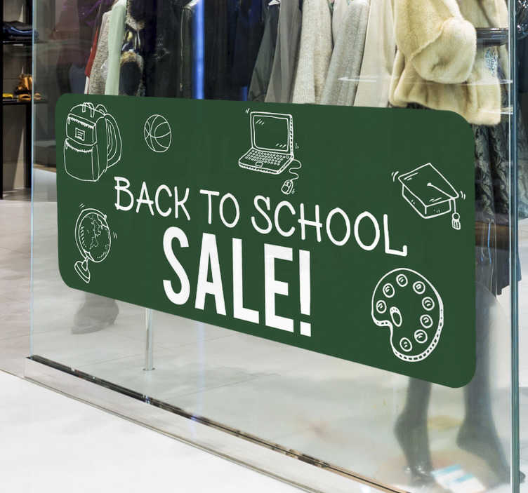 TenStickers. Green back to school Shop Window Vinyl. Green business seasonal shop window decal that you can apply in your shop mirror to promote sales. This design is very easy to apply.