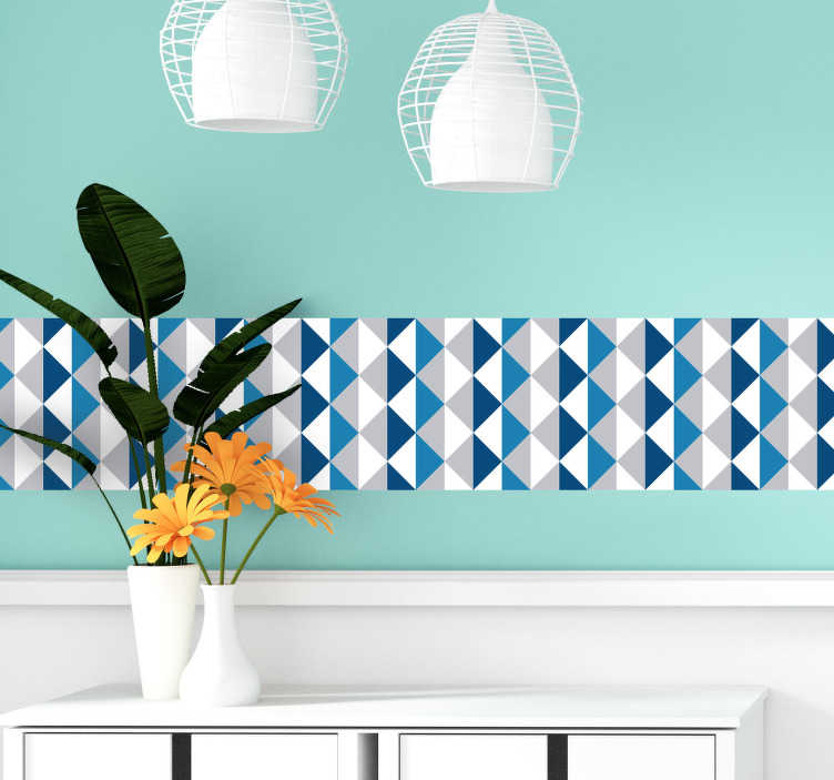 TenStickers. Geometric  border  sticker. Decorative geometric pattern textured  boarder decal created in blue colour to decorate and define your wall surfaces . Easy to apply design.