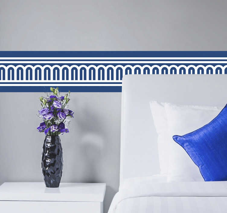 TenStickers. Adhesive border sticker. Decorative blue border sticker for your home. This design is created with well organised shapes that is very adhesive to define you wall surface.