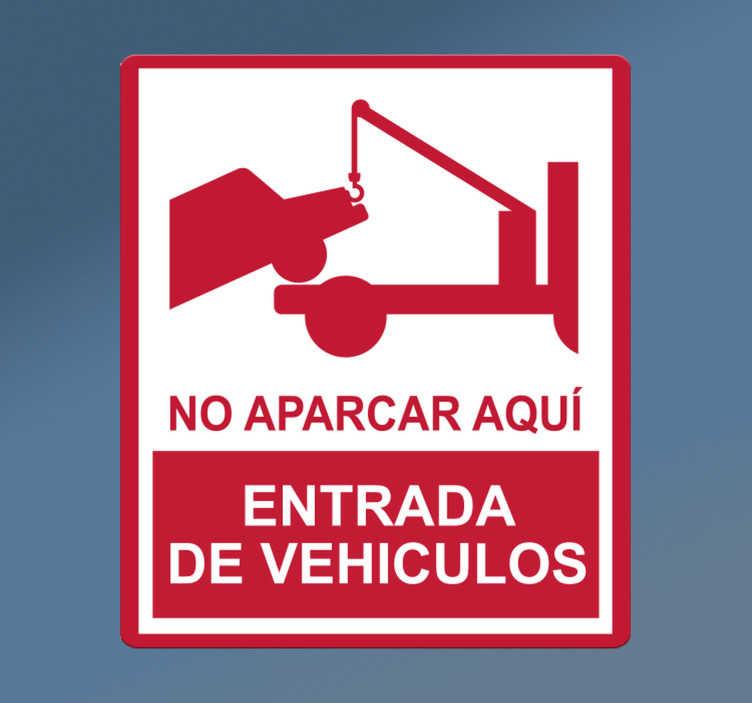 """TenVinilo. Pegatina no estacione aquí señal de tráfico. Un vinilo pared de señalización con texto """"no aparcar aquí"""" para vehículos que puede aplicar en el garaje o en cualquier estacionamiento de negocios. Diseño  fácil de aplicar."""