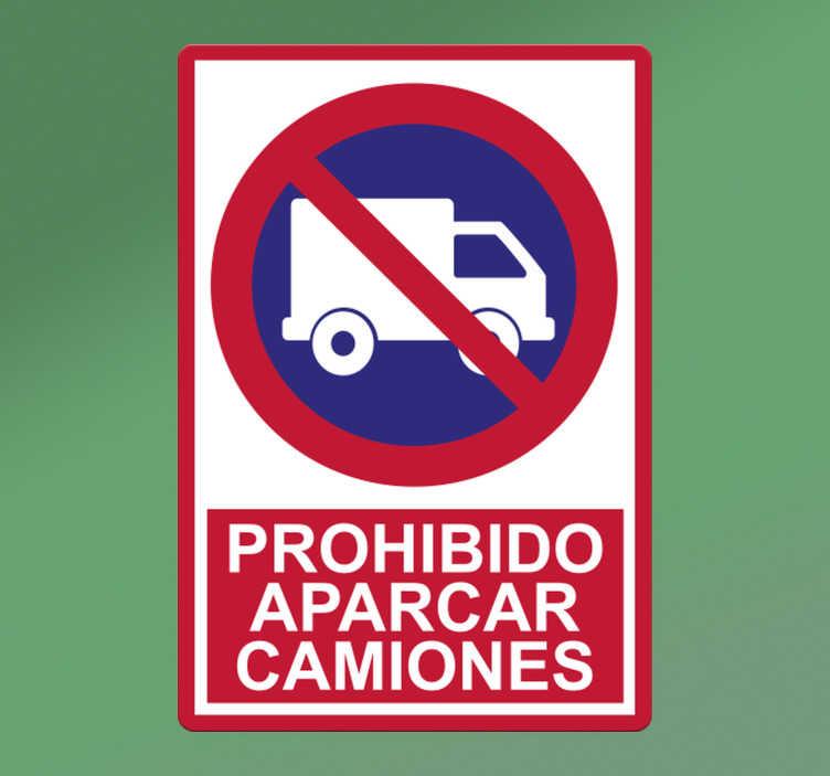 """TenVinilo. Vinilo adhesivo señal prohibido estacionar camiones. Vinilo de señalización icónica con la señal de un camión con un prohibido y frase """"prohibido estacionar camiones"""". Este diseño es fácil de aplicar en superficies planas."""