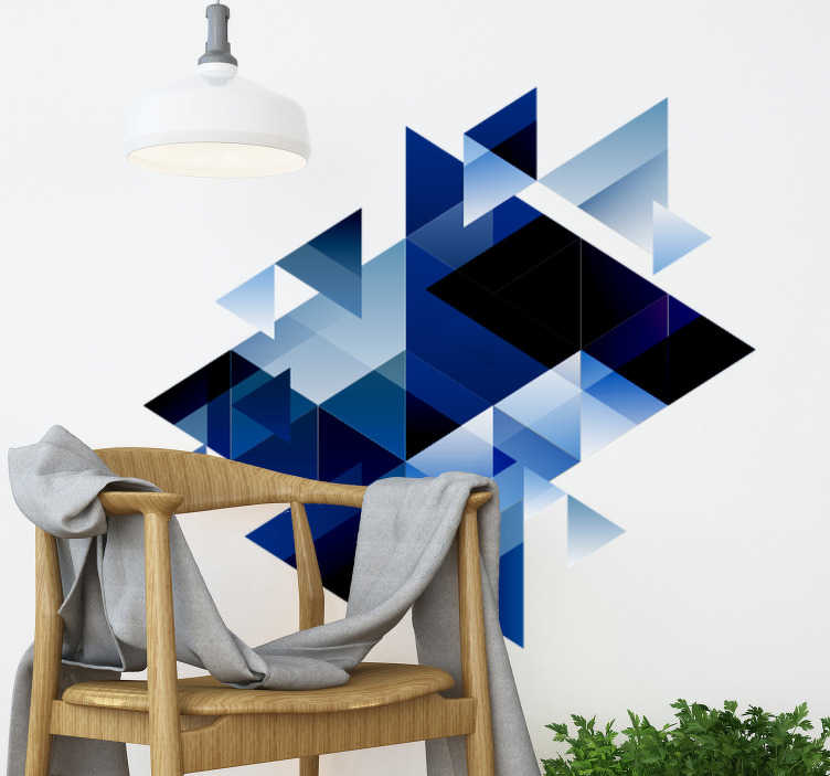 TenStickers. Geometric forms Abstract Sticker. A decorative blue geometric abstract wall sticker design that will be nice to decorate your living room or bedroom. This design is easy to apply.