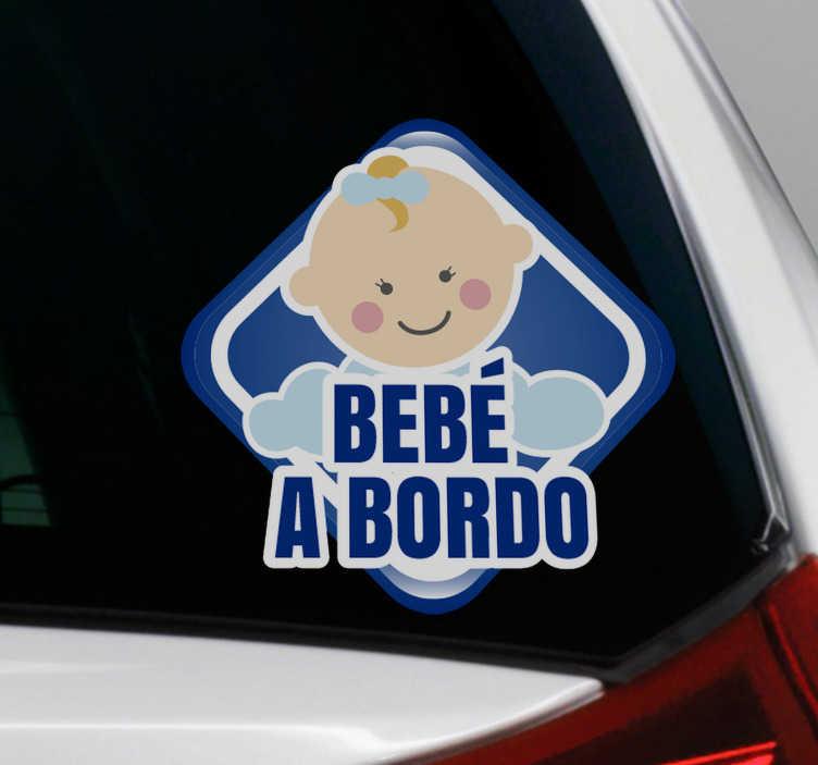 TenVinilo. Vinilo adhesivo bebé a bordo coche. Diseño de vinilo coche de bebé a bordo para aplicar en la superficie de automóviles y vehículos para notificar a los usuarios de la carretera del bebé en el automóvil diseño fácil de aplicar.