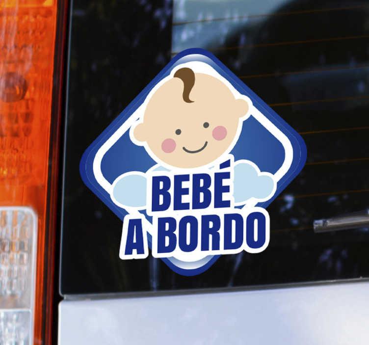TenVinilo. Vinilo bebé a bordo bebé en auto. Diseño de vinilo de bebé a bordo para aplicar en su automóvil o cualquier vehículo para ayudar a mantener bajo control la seguridad de su hijo. Este diseño es fácil de aplicar.