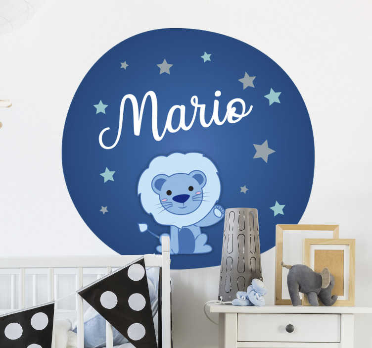 TenStickers. Infant lion illustration wall art. Personalised Infant illustration wild animal sticker for bedroom that can have the name of your child on it. This design is very easy to apply.