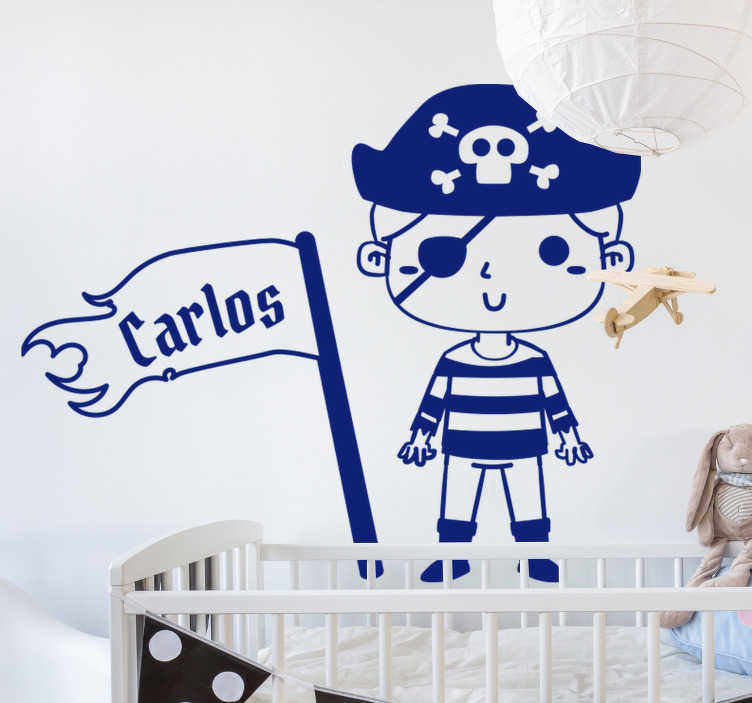 TenStickers. Personalizable pirate nautical sticker. Children's pirate nautical wall sticker design in blue with a kid pirate waving a flag with a name on it. This design can be customised with a name.