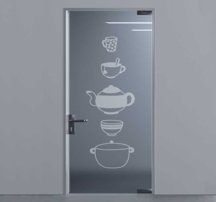TenStickers. Kitchenware door glass door sticker. Kitchen cooking wares door sticker that can be applied on the door, window and mirror surface of the kitchen to beautify it. Easy to apply design.