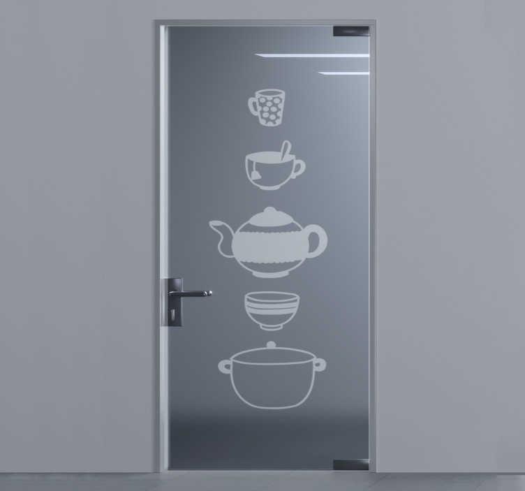 TenStickers. 厨具门玻璃门贴. 厨房炊具门贴纸,可以粘贴在厨房的门,窗户和镜子表面上,以美化它。易于应用的设计。