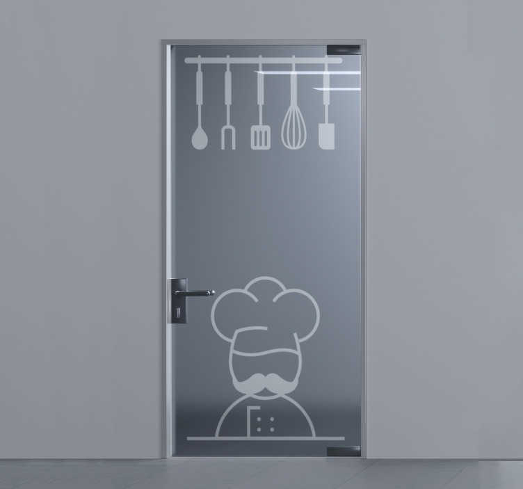 TenStickers. Kitchen doors glass sticker. Decorative kitchen cooking wares door sticker that can be applied on the door, window and mirror surfaces of your kitchen to beautify it.