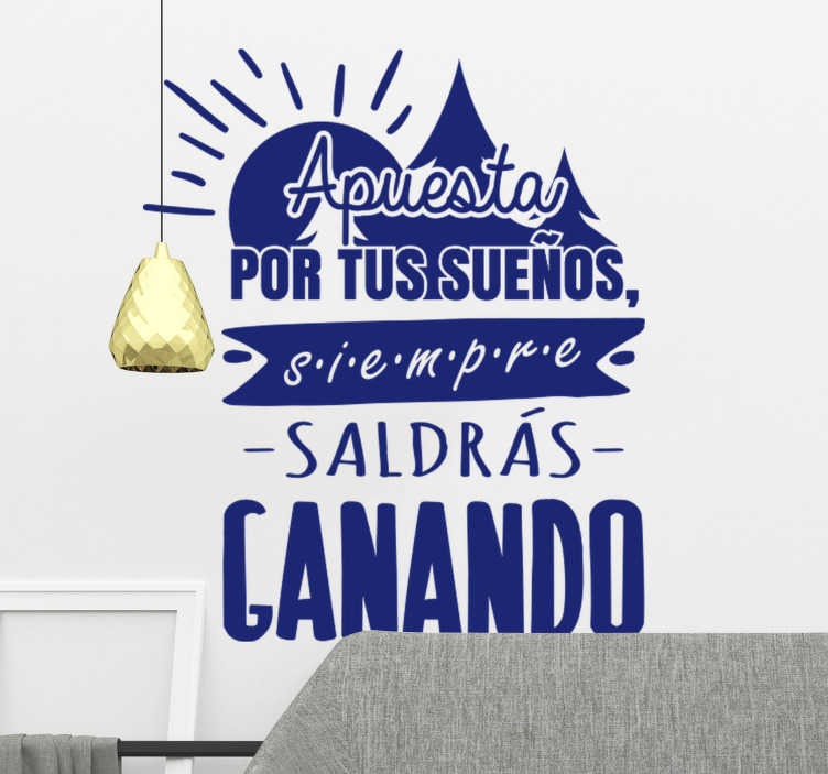 TenVinilo. Apuesta por tus sueños vinilo motivacional. Vinilo pared de texto de pared motivadora para decorar tu hogar. Este diseño contiene texto de inspiración con el sol en un hermoso color azul para mantenerte inspirado.