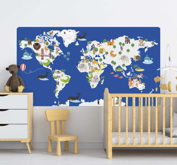TenStickers. Classic blue floral fauna world map wall sticker. Animal world map wall sticker for kids that can be applied in the bedroom or living room. This design is good for lids learning. Easy to apply design.
