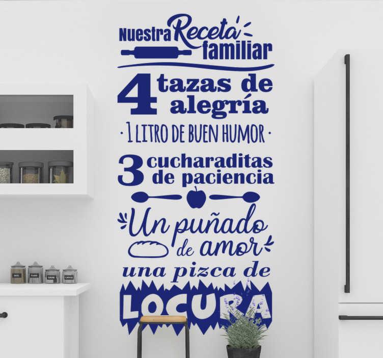 TenVinilo. Vinilo de pared de texto azul clásico familiar. Vinilo de cocina de texto de pared de cocina en texto azul con receta de cocina que puede aplicar en la superficie para embellecerlo. Diseño fácil de aplicar.