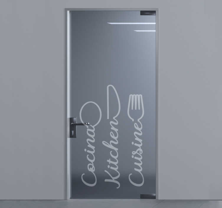 TenStickers. Kitchen  glass door sticker. Kitchen utensils door sticker to beautify your kitchen door, window or mirror surface. This design is easy to apply and you will love it.