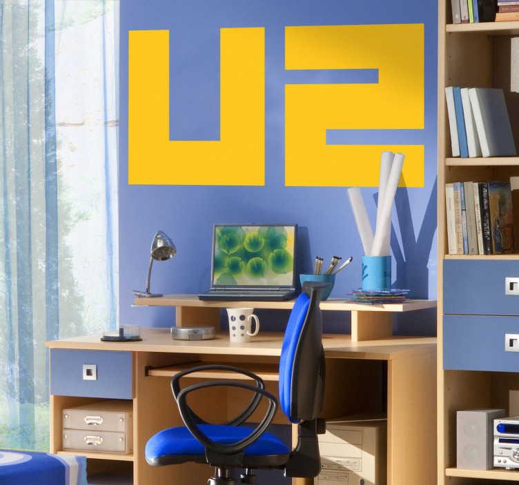 TenStickers. Autocollant mural logo U2. Stickers mural illustrant le logo du groupe irlandais de pop-rock U2, avec pour leader Bono. Sélectionnez les dimensions et la couleur de votre choix.
