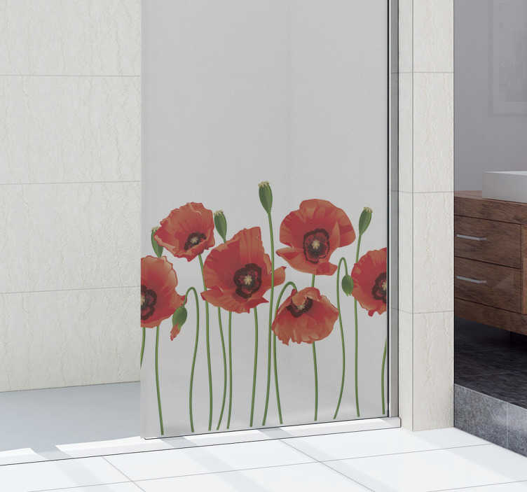 TenStickers. Bathroom screen with poppies window decal. Poppy flower window and mirror decal to beautify the surface of your bathroom and any transparent surface in your home. Easy to apply deign.