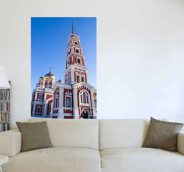 TenStickers. Sticker decorativo chiesa ortodossa. Fotomurale che ritrae un tipico luogo di culto della religione ortodossa. Una decorazione ideale per gli appassionati di architettura slava.
