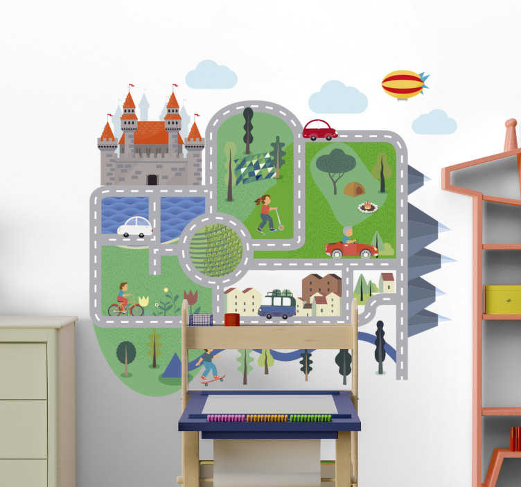 TenStickers. Circuit cars  wall decor. Kids car circuit game wall decal design that is created in very beautiful colour with different kid's  activities on different circuit. Easy to apply .