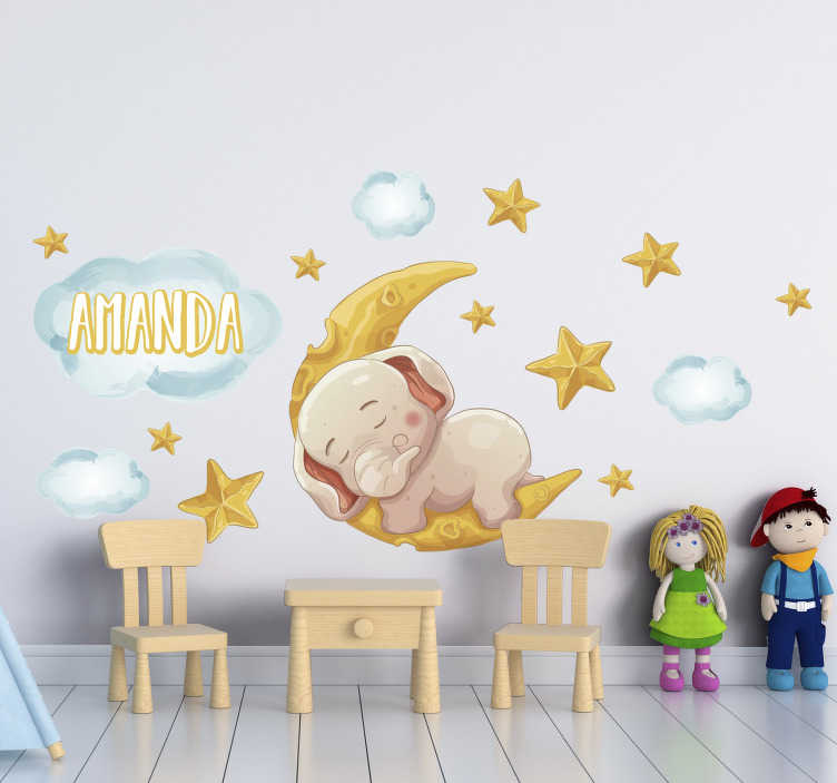 TenStickers. 잠자는 코끼리 동물 벽 장식. 일부 별과 코끼리 자와 함께 만든 어린이 침실 야생 동물 벽 스티커. 이 디자인은 적용하기 쉽습니다.