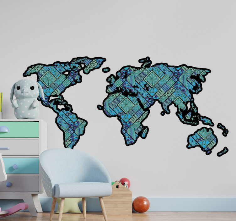TenStickers. Ethnic world map  sticker. Ethnic world map design for bedroom and living room. This design can be use to decorate your teens room, easy to apply and you can choose the size.