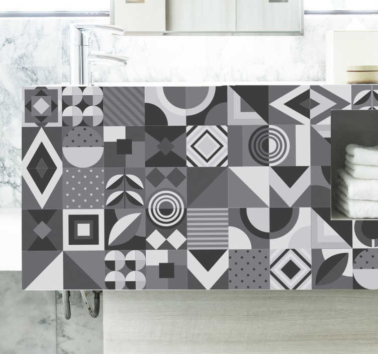 TenStickers. Gray patterns  furniture decal. A pattered shaped objects furniture for bathroom decal that you can apply on your bathroom surface like furniture and any surface you choose.